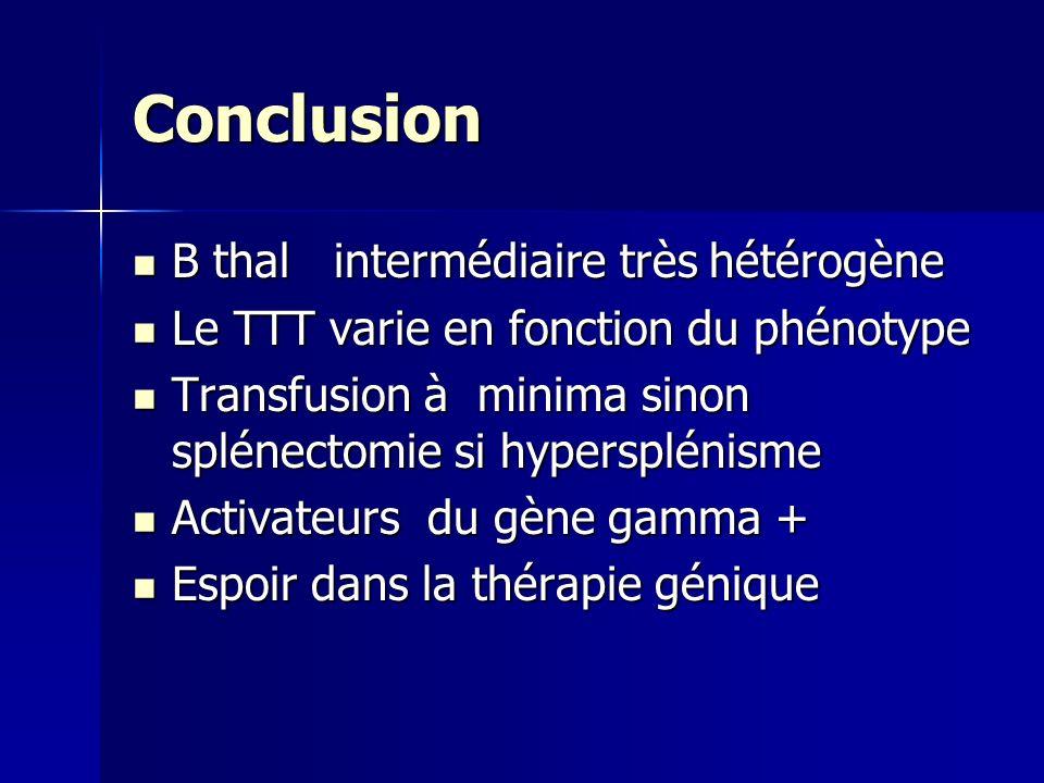 Conclusion B thal intermédiaire très hétérogène B thal intermédiaire très hétérogène Le TTT varie en fonction du phénotype Le TTT varie en fonction du