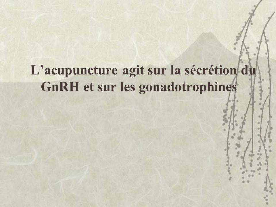 Lacupuncture agit sur la sécrétion du GnRH et sur les gonadotrophines