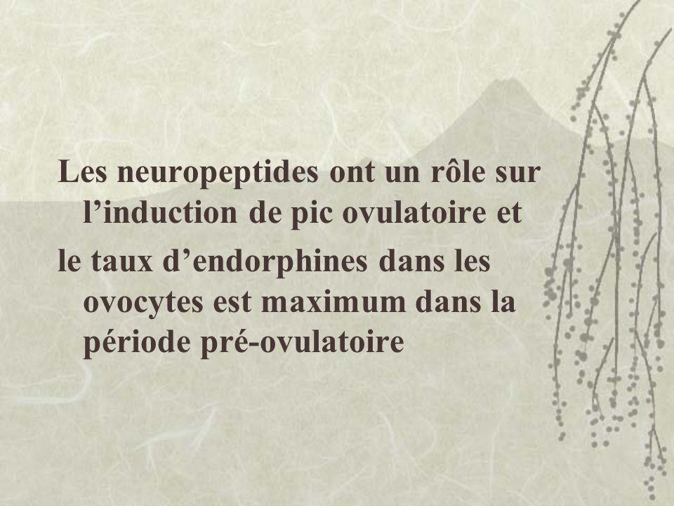 Les neuropeptides ont un rôle sur linduction de pic ovulatoire et le taux dendorphines dans les ovocytes est maximum dans la période pré-ovulatoire