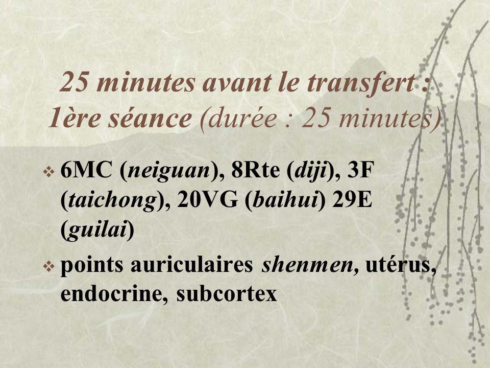 25 minutes avant le transfert : 1ère séance (durée : 25 minutes) 6MC (neiguan), 8Rte (diji), 3F (taichong), 20VG (baihui) 29E (guilai) points auricula