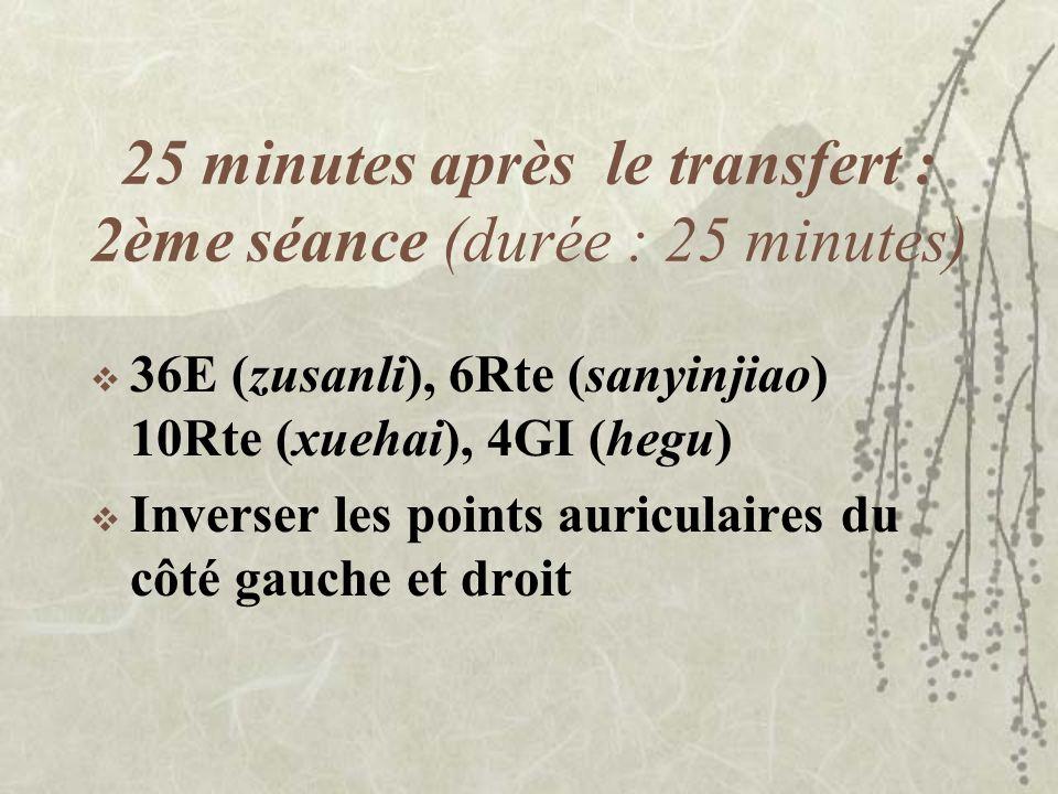 25 minutes après le transfert : 2ème séance (durée : 25 minutes) 36E (zusanli), 6Rte (sanyinjiao) 10Rte (xuehai), 4GI (hegu) Inverser les points auric