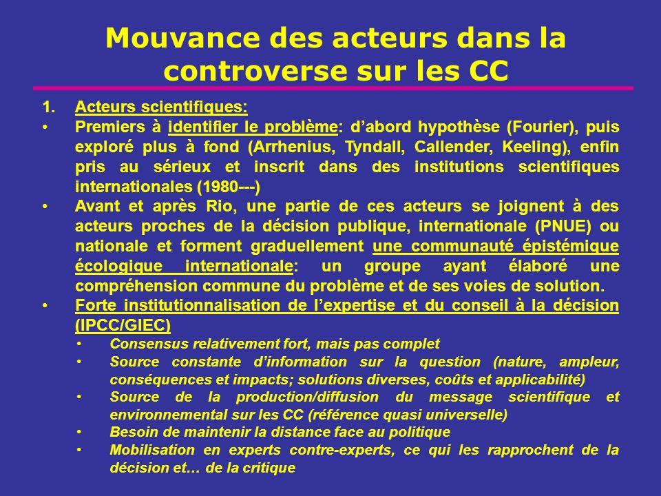 Mouvance des acteurs dans la controverse sur les CC 1.Acteurs scientifiques: Premiers à identifier le problème: dabord hypothèse (Fourier), puis explo