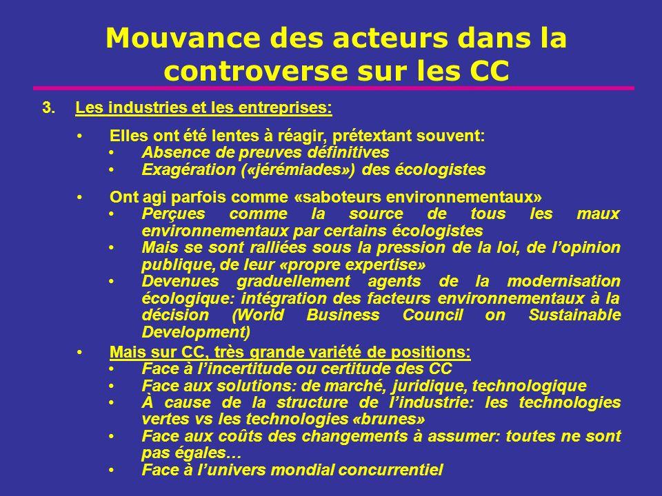 Mouvance des acteurs dans la controverse sur les CC 3.Les industries et les entreprises: Elles ont été lentes à réagir, prétextant souvent: Absence de