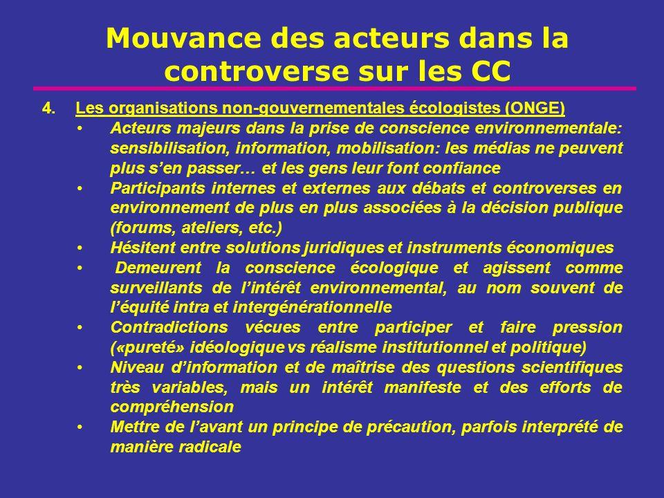 Mouvance des acteurs dans la controverse sur les CC 4.Les organisations non-gouvernementales écologistes (ONGE) Acteurs majeurs dans la prise de consc