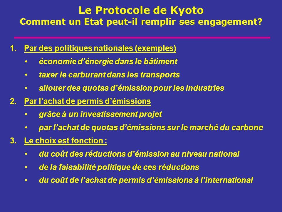 Le Protocole de Kyoto Comment un Etat peut-il remplir ses engagement? 1.Par des politiques nationales (exemples) économie dénergie dans le bâtiment ta
