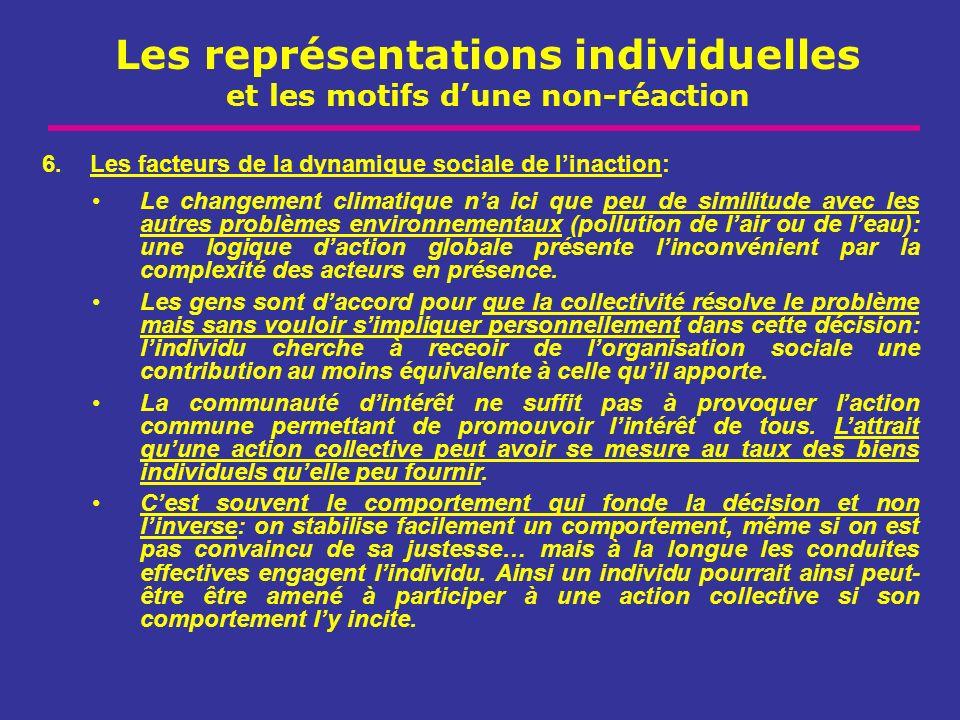 Les représentations individuelles et les motifs dune non-réaction 6.Les facteurs de la dynamique sociale de linaction: Le changement climatique na ici
