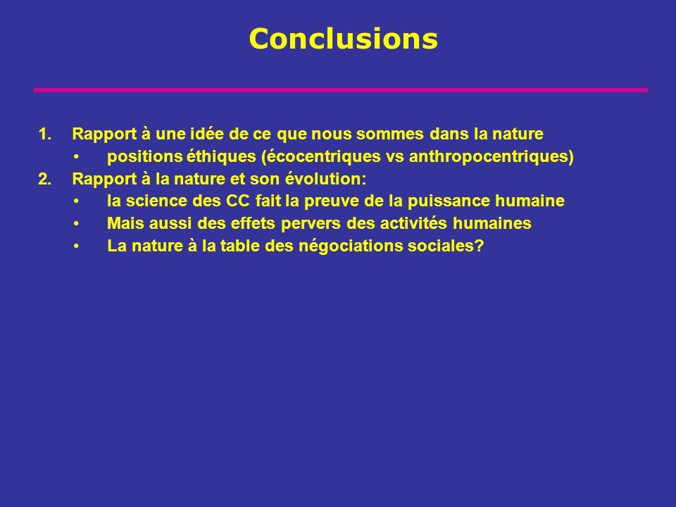 Conclusions 1.Rapport à une idée de ce que nous sommes dans la nature positions éthiques (écocentriques vs anthropocentriques) 2.Rapport à la nature e