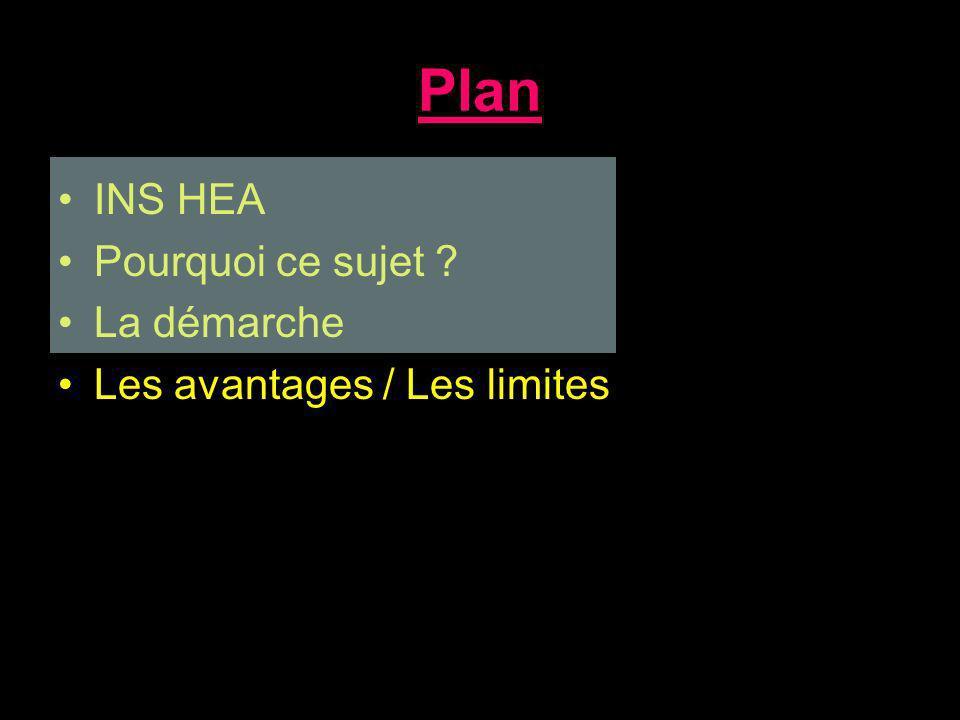 Plan INS HEA Pourquoi ce sujet La démarche Les avantages / Les limites