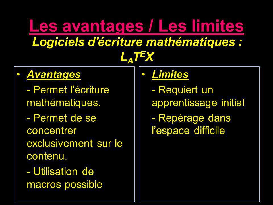 Les avantages / Les limites Avantages - Permet lécriture mathématiques. - Permet de se concentrer exclusivement sur le contenu. - Utilisation de macro