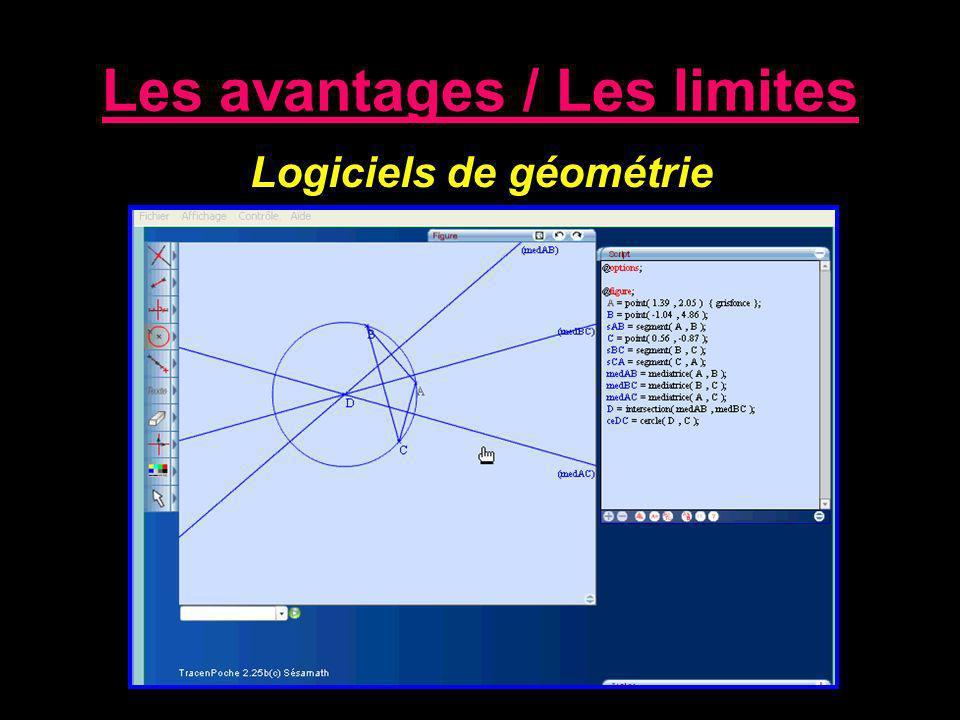 Les avantages / Les limites Logiciels de géométrie