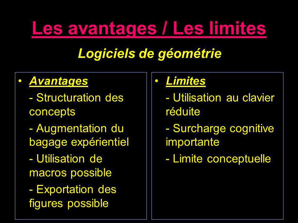 Les avantages / Les limites Avantages - Structuration des concepts - Augmentation du bagage expérientiel - Utilisation de macros possible - Exportatio