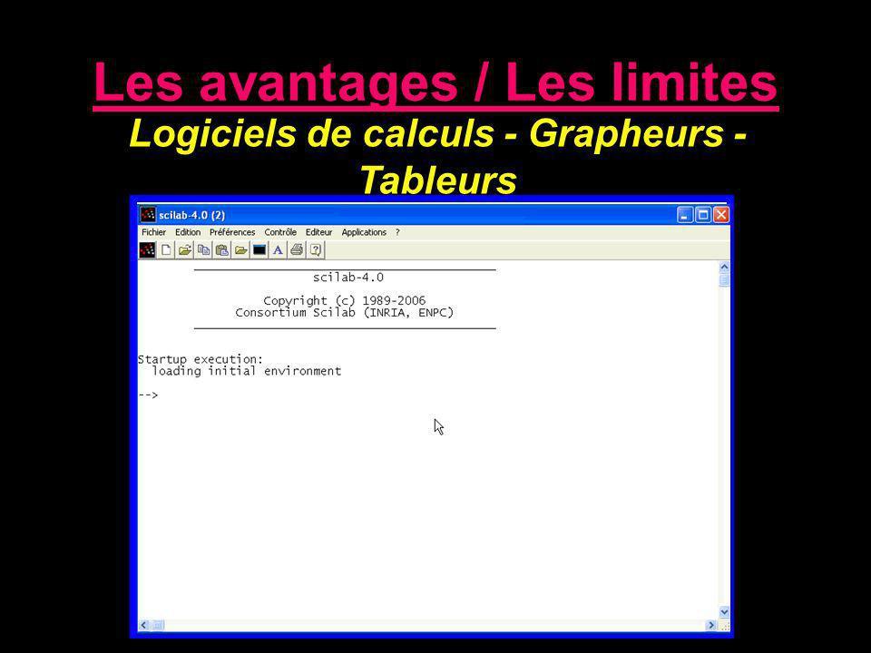 Les avantages / Les limites Logiciels de calculs - Grapheurs - Tableurs