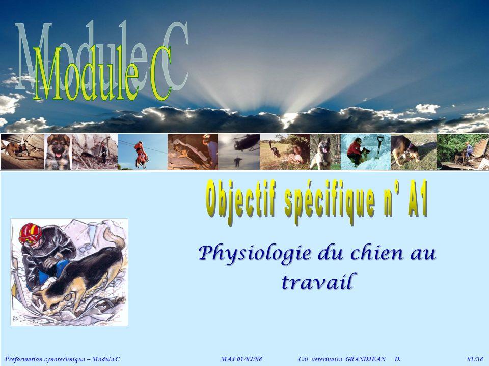 Physiologie du chien au travail Préformation cynotechnique – Module C MAJ 01/02/08 Col vétérinaire GRANDJEAN D. 01/38