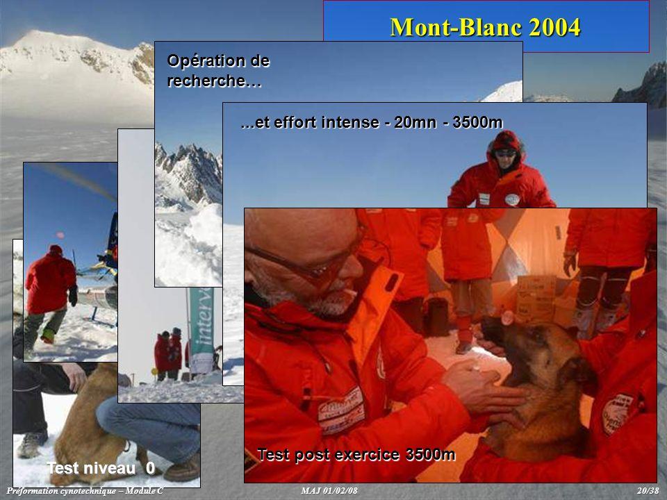 Mont-Blanc 2004 Drop helicoptère Test niveau 0 Camp de base / test - niveau 3500m Opération de recherche…...et effort intense - 20mn - 3500m Test post