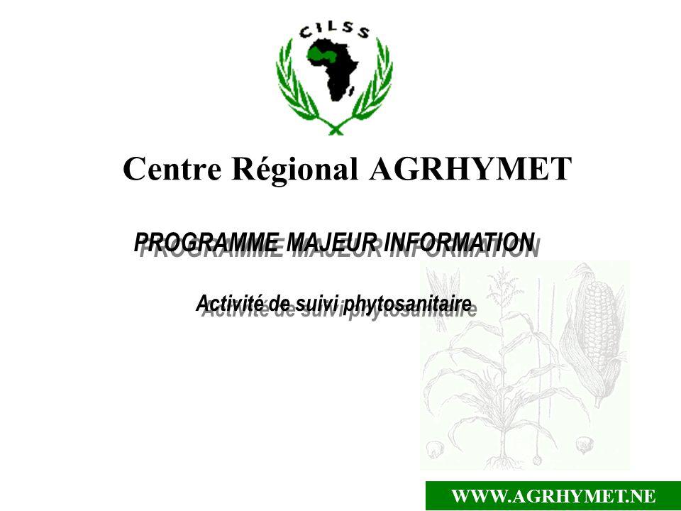 WWW.AGRHYMET.NE Centre Régional AGRHYMET PROGRAMME MAJEUR INFORMATION Activité de suivi phytosanitaire PROGRAMME MAJEUR INFORMATION Activité de suivi