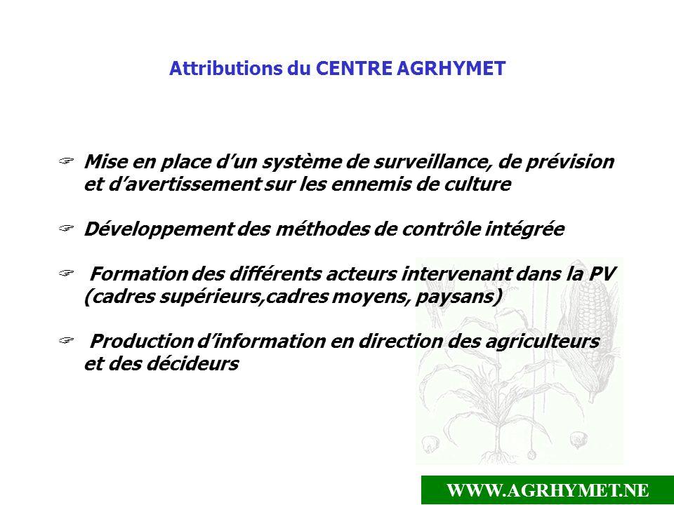 WWW.AGRHYMET.NE Attributions du CENTRE AGRHYMET Mise en place dun système de surveillance, de prévision et davertissement sur les ennemis de culture D