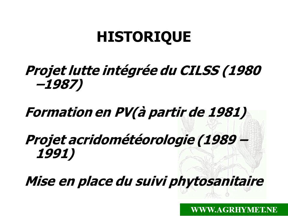 WWW.AGRHYMET.NE HISTORIQUE Projet lutte intégrée du CILSS (1980 –1987) Formation en PV(à partir de 1981) Projet acridométéorologie (1989 – 1991) Mise
