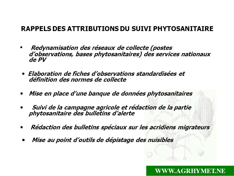 WWW.AGRHYMET.NE RAPPELS DES ATTRIBUTIONS DU SUIVI PHYTOSANITAIRE Redynamisation des réseaux de collecte (postes dobservations, bases phytosanitaires)