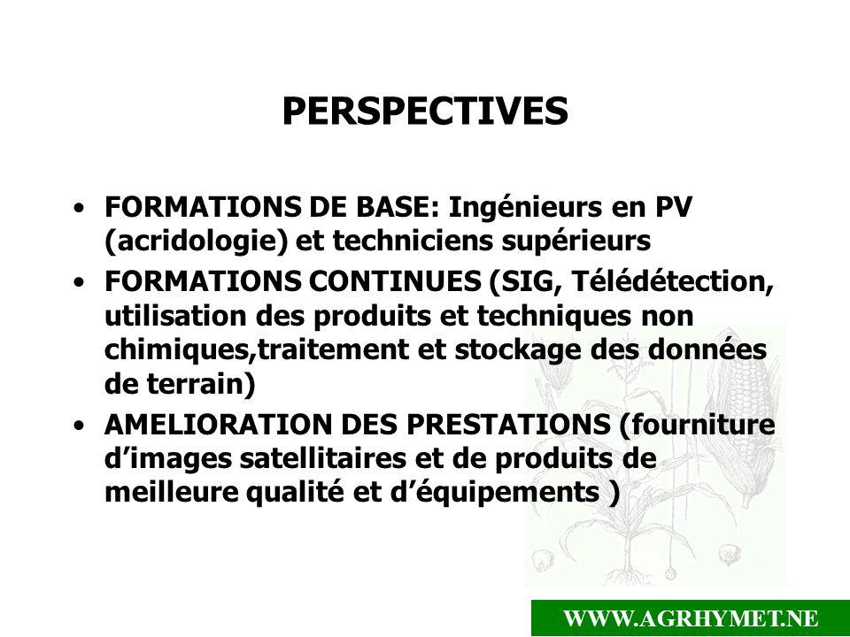 WWW.AGRHYMET.NE PERSPECTIVES FORMATIONS DE BASE: Ingénieurs en PV (acridologie) et techniciens supérieurs FORMATIONS CONTINUES (SIG, Télédétection, ut