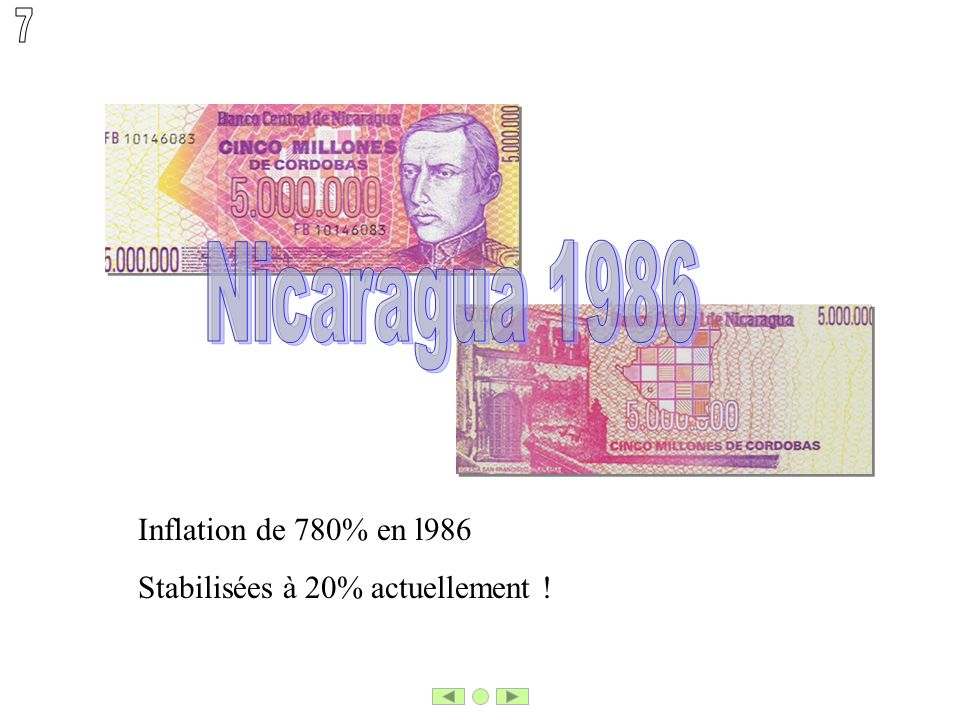 Inflation de 780% en l986 Stabilisées à 20% actuellement !