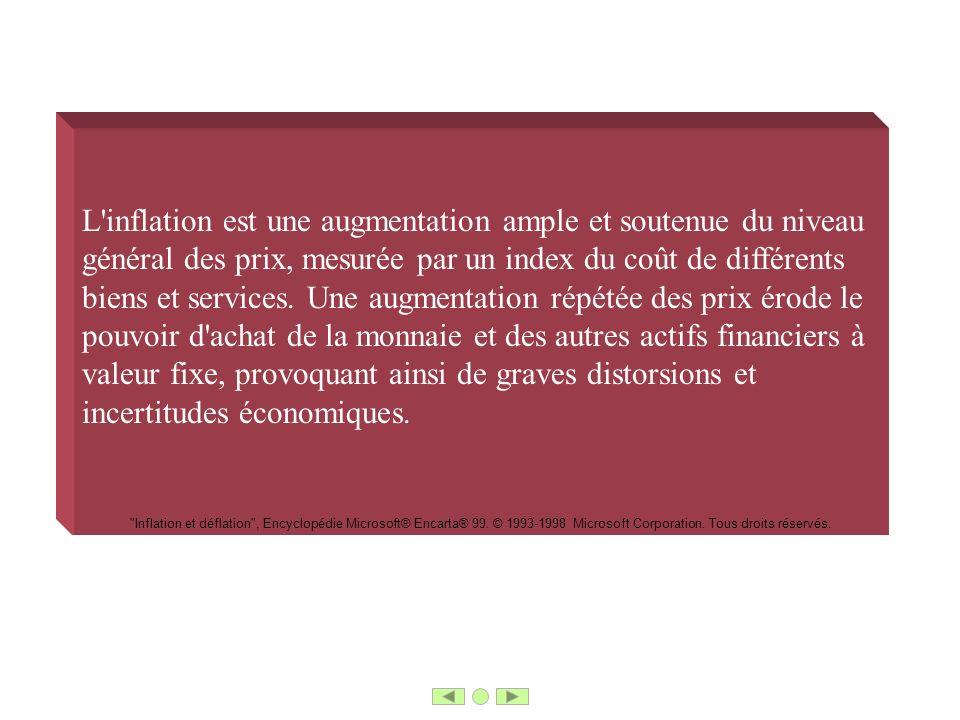 L'inflation est une augmentation ample et soutenue du niveau général des prix, mesurée par un index du coût de différents biens et services. Une augme