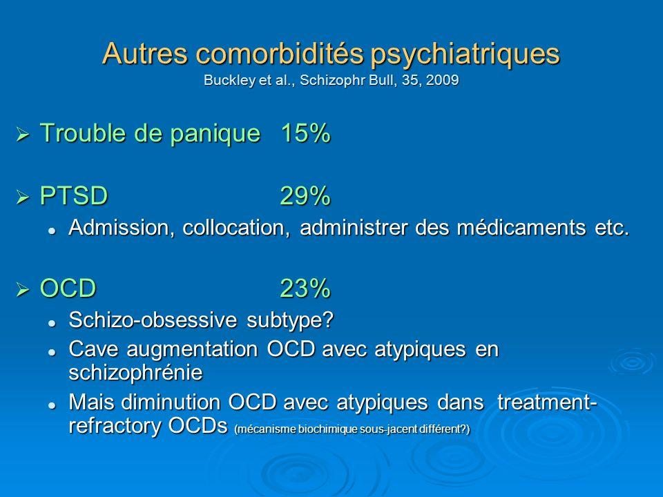 Autres comorbidités psychiatriques Buckley et al., Schizophr Bull, 35, 2009 Trouble de panique 15% Trouble de panique 15% PTSD29% PTSD29% Admission, c