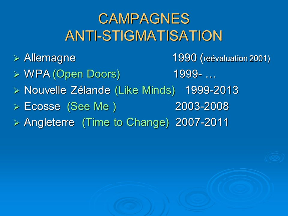 CAMPAGNES ANTI-STIGMATISATION Allemagne 1990 ( reévaluation 2001) Allemagne 1990 ( reévaluation 2001) WPA (Open Doors) 1999- … WPA (Open Doors) 1999- … Nouvelle Zélande (Like Minds) 1999-2013 Nouvelle Zélande (Like Minds) 1999-2013 Ecosse (See Me ) 2003-2008 Ecosse (See Me ) 2003-2008 Angleterre (Time to Change) 2007-2011 Angleterre (Time to Change) 2007-2011