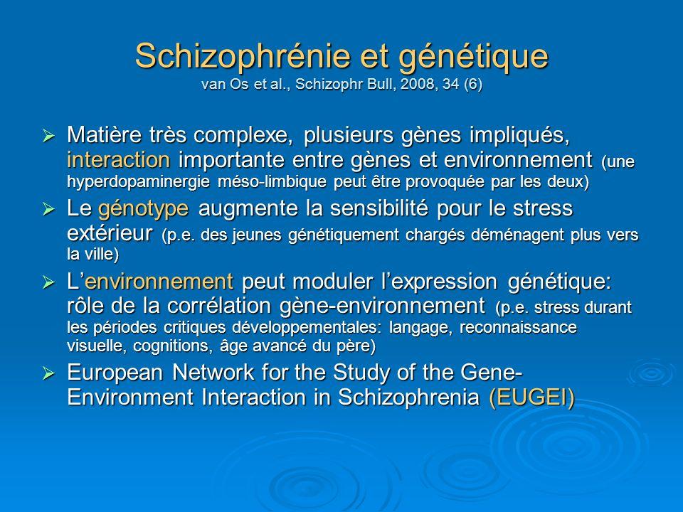 Schizophrénie et génétique van Os et al., Schizophr Bull, 2008, 34 (6) Matière très complexe, plusieurs gènes impliqués, interaction importante entre