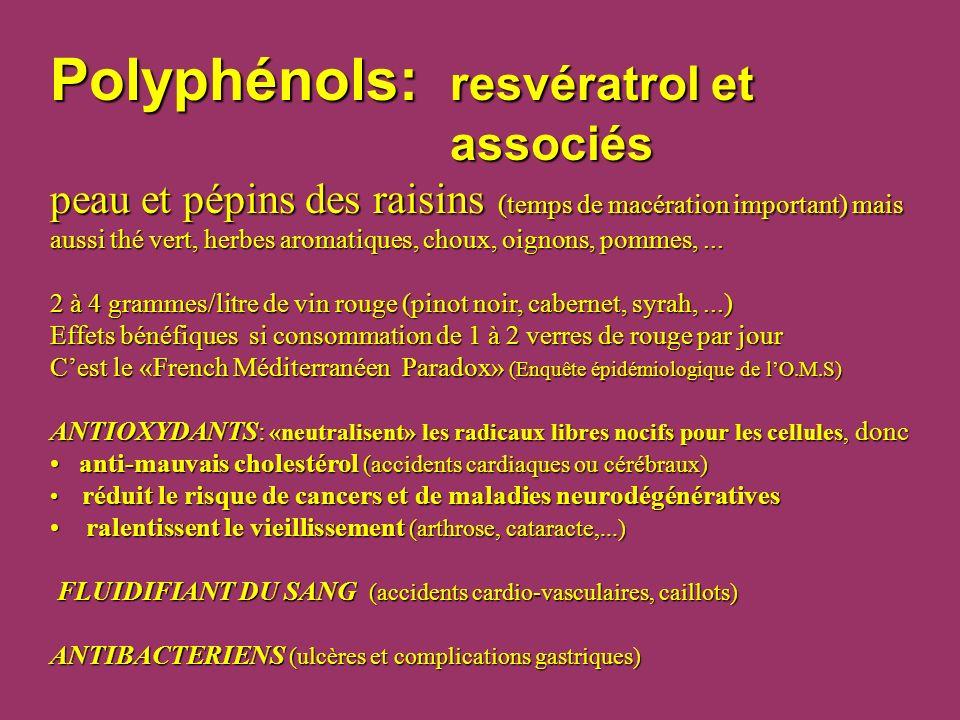 Polyphénols: resvératrol et associés peau et pépins des raisins (temps de macération important) mais aussi thé vert, herbes aromatiques, choux, oignon