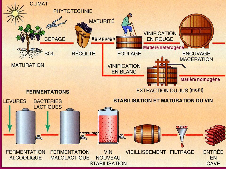 Un des axes majeurs du travail du vin : gestion de la fermentation malo-lactique ____________________________________________________ CONDITIONS POUR LE DEMARRAGE ET LE DELAI DE REALISATION : La fermentation alcoolique doit être terminée (le vin doit être sec : concentration des sucres résiduels < 2 g/L )La fermentation alcoolique doit être terminée (le vin doit être sec : concentration des sucres résiduels < 2 g/L ) pH compris entre 3,1 (pas de départ en FML) et 4,5 (FML ralentie) pH idéal 4pH compris entre 3,1 (pas de départ en FML) et 4,5 (FML ralentie) pH idéal 4 Décuvage: écoulage du vin de goutte (jus) et pressurage du marc avec une bonne hygièneDécuvage: écoulage du vin de goutte (jus) et pressurage du marc avec une bonne hygiène Température optimum : entre 20 et 22°C, sans à-coups.Température optimum : entre 20 et 22°C, sans à-coups.