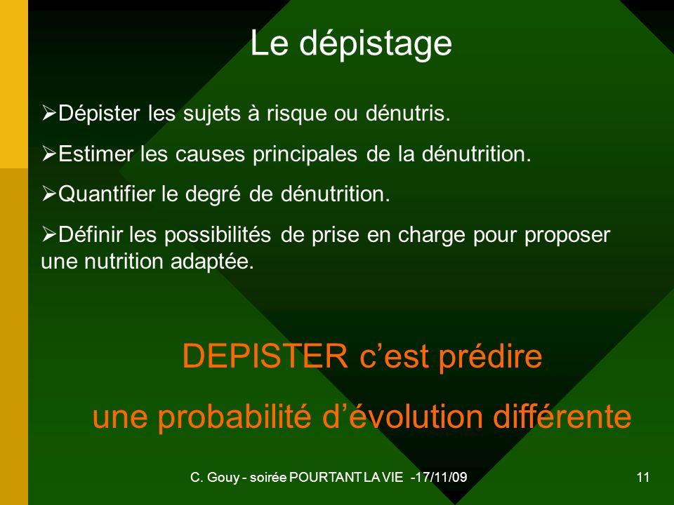 C. Gouy - soirée POURTANT LA VIE -17/11/09 11 Le dépistage Dépister les sujets à risque ou dénutris. Estimer les causes principales de la dénutrition.
