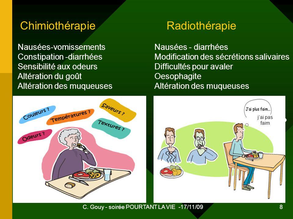 C. Gouy - soirée POURTANT LA VIE -17/11/09 8 Nausées-vomissements Constipation -diarrhées Sensibilité aux odeurs Altération du goût Altération des muq