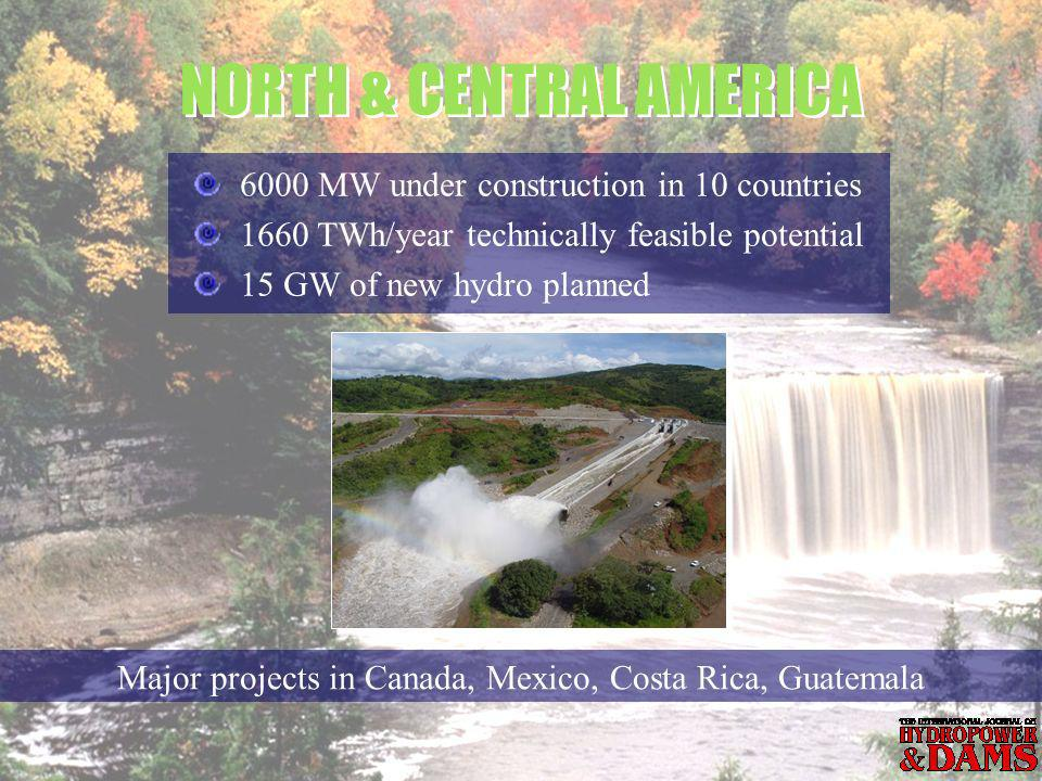 6000 MW under construction in 10 countries 1660 TWh/year technically feasible potential 15 GW of new hydro planned NORTH & CENTRAL AMERICA Major projects in Canada, Mexico, Costa Rica, Guatemala