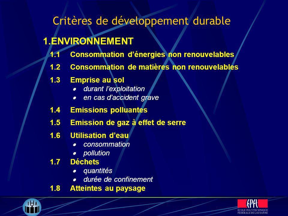 1.1Consommation dénergies non renouvelables 1.2Consommation de matières non renouvelables 1.3Emprise au sol durant lexploitation en cas daccident grav