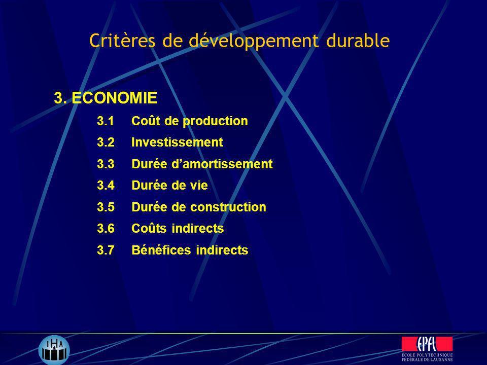 3.1Coût de production 3.2Investissement 3.3Durée damortissement 3.4Durée de vie 3.5Durée de construction 3.6Coûts indirects 3.7Bénéfices indirects 3.