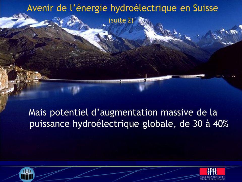 Mais potentiel daugmentation massive de la puissance hydroélectrique globale, de 30 à 40% Avenir de lénergie hydroélectrique en Suisse (suite 2)