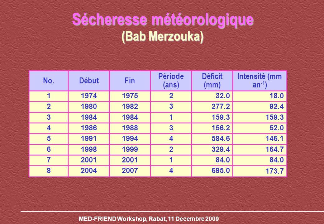 MED-FRIEND Workshop, Rabat, 11 Decembre 2009 No.DébutFin Période (ans) Déficit (mm) Intensité (mm an -1 ) 119741975232.018.0 2198019823277.292.4 31984 1159.3 4198619883156.252.0 5199119944584.6146.1 6199819992329.4164.7 72001 184.0 8200420074695.0 173.7 Sécheresse météorologique (Bab Merzouka)