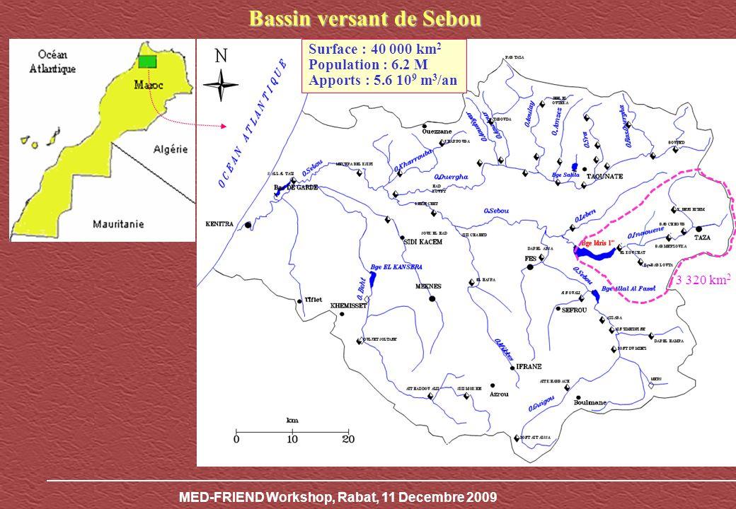 MED-FRIEND Workshop, Rabat, 11 Decembre 2009 Évolution des précipitations et des apports annuels au Barrage Idriss I er