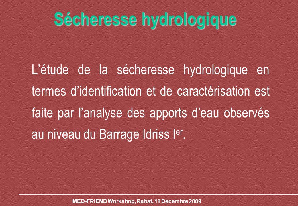 Létude de la sécheresse hydrologique en termes didentification et de caractérisation est faite par lanalyse des apports deau observés au niveau du Bar