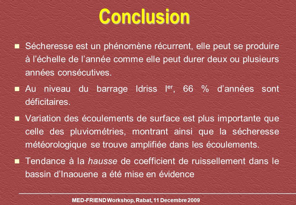MED-FRIEND Workshop, Rabat, 11 Decembre 2009 Conclusion Sécheresse est un phénomène récurrent, elle peut se produire à léchelle de lannée comme elle peut durer deux ou plusieurs années consécutives.