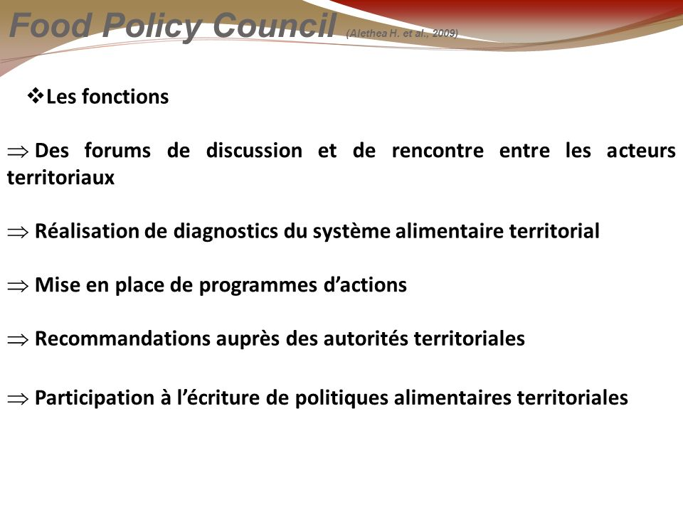 Les fonctions Food Policy Council (Alethea H.
