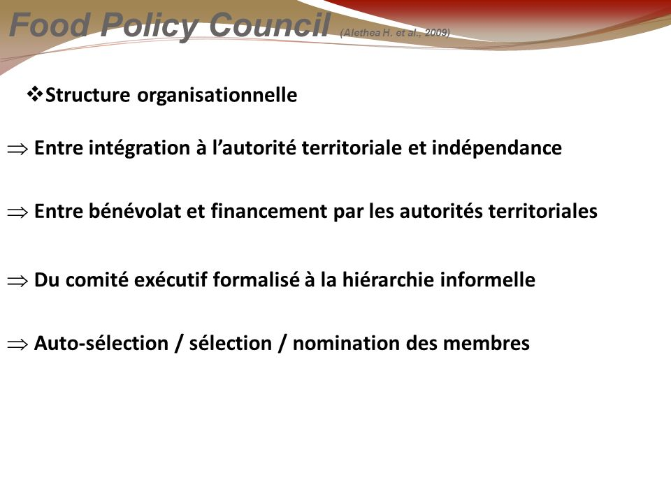 Structure organisationnelle Food Policy Council (Alethea H.