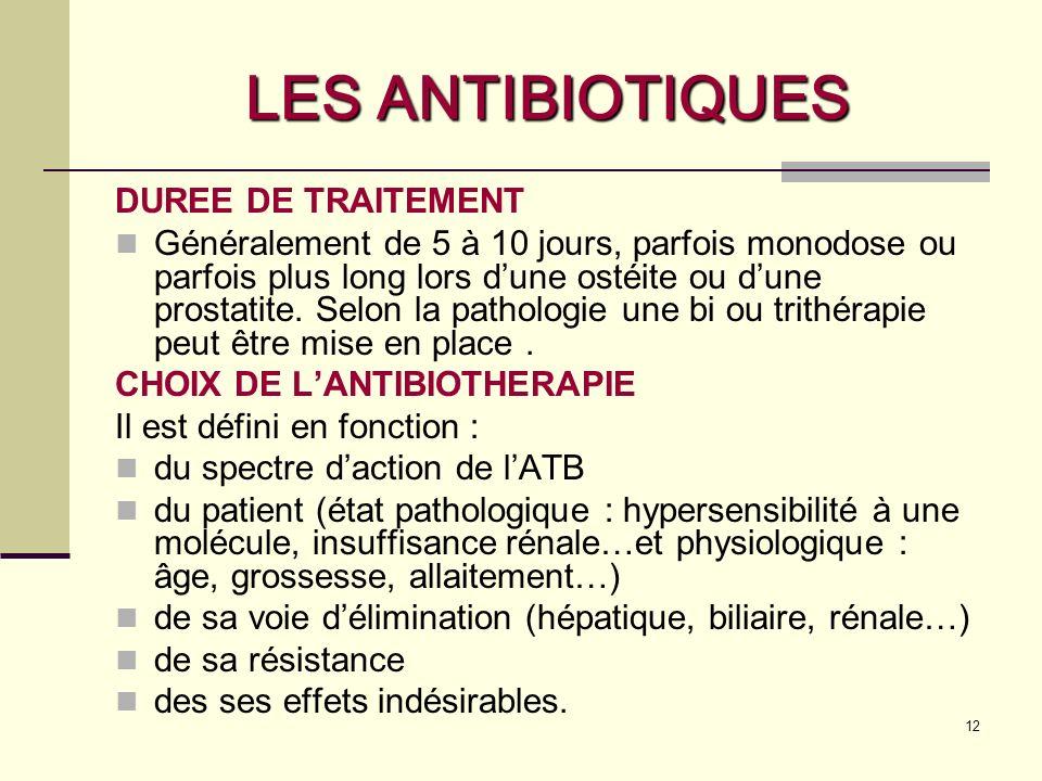 12 LES ANTIBIOTIQUES DUREE DE TRAITEMENT Généralement de 5 à 10 jours, parfois monodose ou parfois plus long lors dune ostéite ou dune prostatite.
