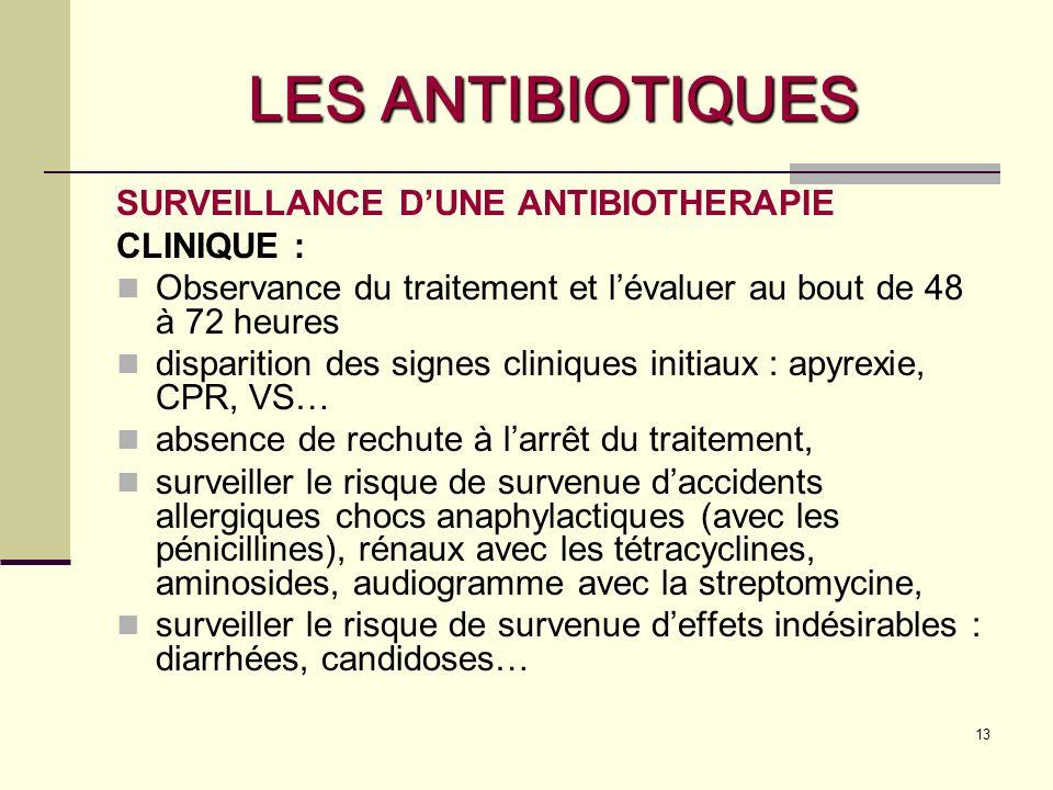 13 LES ANTIBIOTIQUES SURVEILLANCE DUNE ANTIBIOTHERAPIE CLINIQUE : Observance du traitement et lévaluer au bout de 48 à 72 heures disparition des signes cliniques initiaux : apyrexie, CPR, VS… absence de rechute à larrêt du traitement, surveiller le risque de survenue daccidents allergiques chocs anaphylactiques (avec les pénicillines), rénaux avec les tétracyclines, aminosides, audiogramme avec la streptomycine, surveiller le risque de survenue deffets indésirables : diarrhées, candidoses…