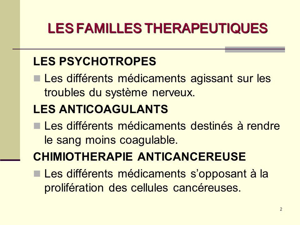2 LES FAMILLES THERAPEUTIQUES LES PSYCHOTROPES Les différents médicaments agissant sur les troubles du système nerveux.