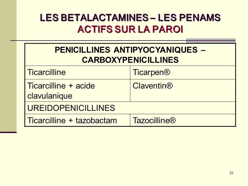 20 LES BETALACTAMINES – LES PENAMS ACTIFS SUR LA PAROI PENICILLINES ANTIPYOCYANIQUES – CARBOXYPENICILLINES TicarcillineTicarpen® Ticarcilline + acide clavulanique Claventin® UREIDOPENICILLINES Ticarcilline + tazobactamTazocilline®