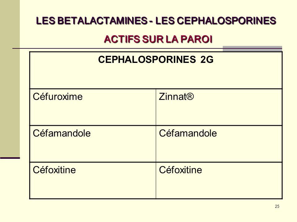 25 LES BETALACTAMINES - LES CEPHALOSPORINES ACTIFS SUR LA PAROI CEPHALOSPORINES 2G CéfuroximeZinnat® Céfamandole Céfoxitine