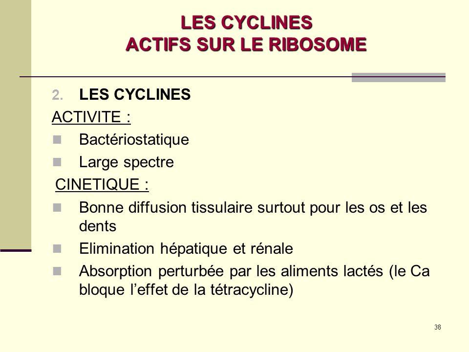 38 LES CYCLINES ACTIFS SUR LE RIBOSOME 2.