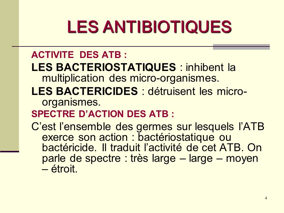 5 LES ANTIBIOTIQUES TYPES DE BACTERIES Micro-organismes unicellulaires de très petite taille (1 à 10 microns).