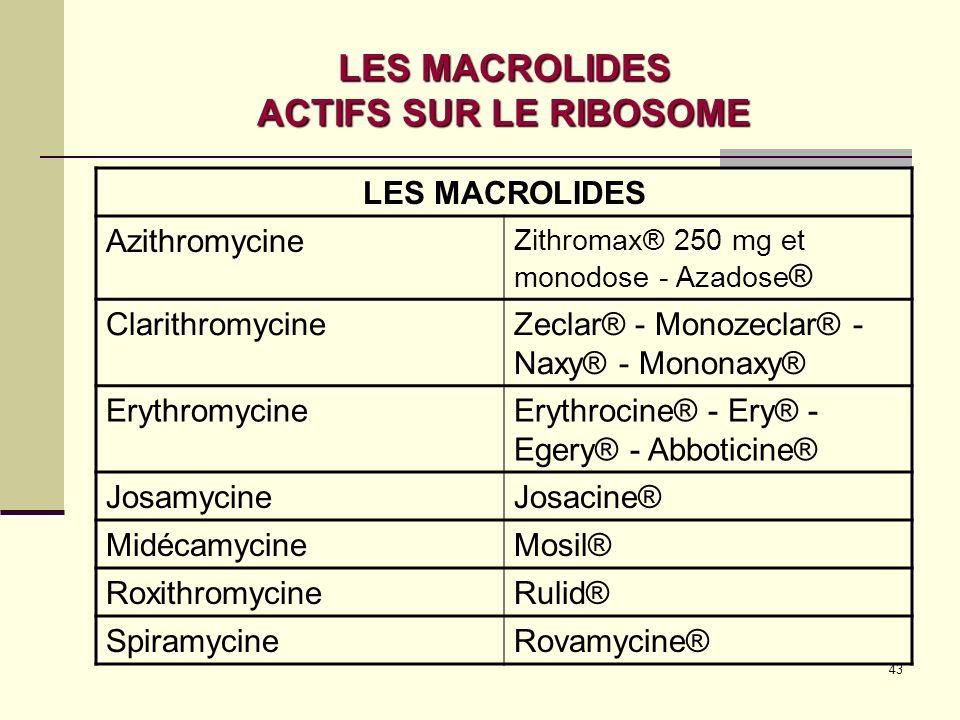 43 LES MACROLIDES ACTIFS SUR LE RIBOSOME LES MACROLIDES Azithromycine Zithromax® 250 mg et monodose - Azadose ® ClarithromycineZeclar® - Monozeclar® - Naxy® - Mononaxy® ErythromycineErythrocine® - Ery® - Egery® - Abboticine® JosamycineJosacine® MidécamycineMosil® RoxithromycineRulid® SpiramycineRovamycine®